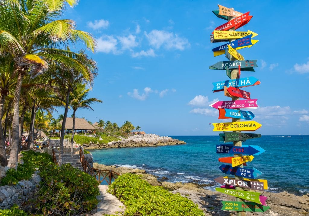 The XCaret park on the Mayan Riviera in Mexico on a beautiful sunny day